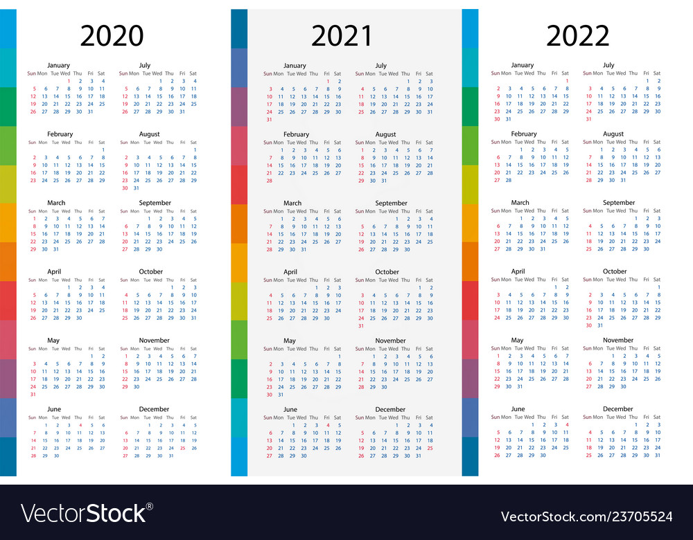 Calendar template set for 2020 2021 2022 years