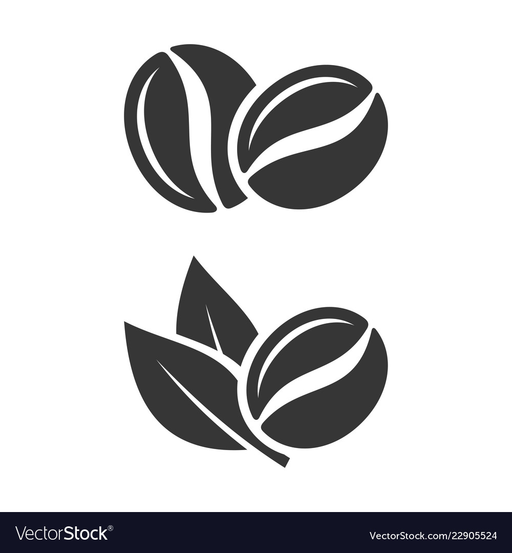 coffee beans and leaf set on white background vector image vectorstock