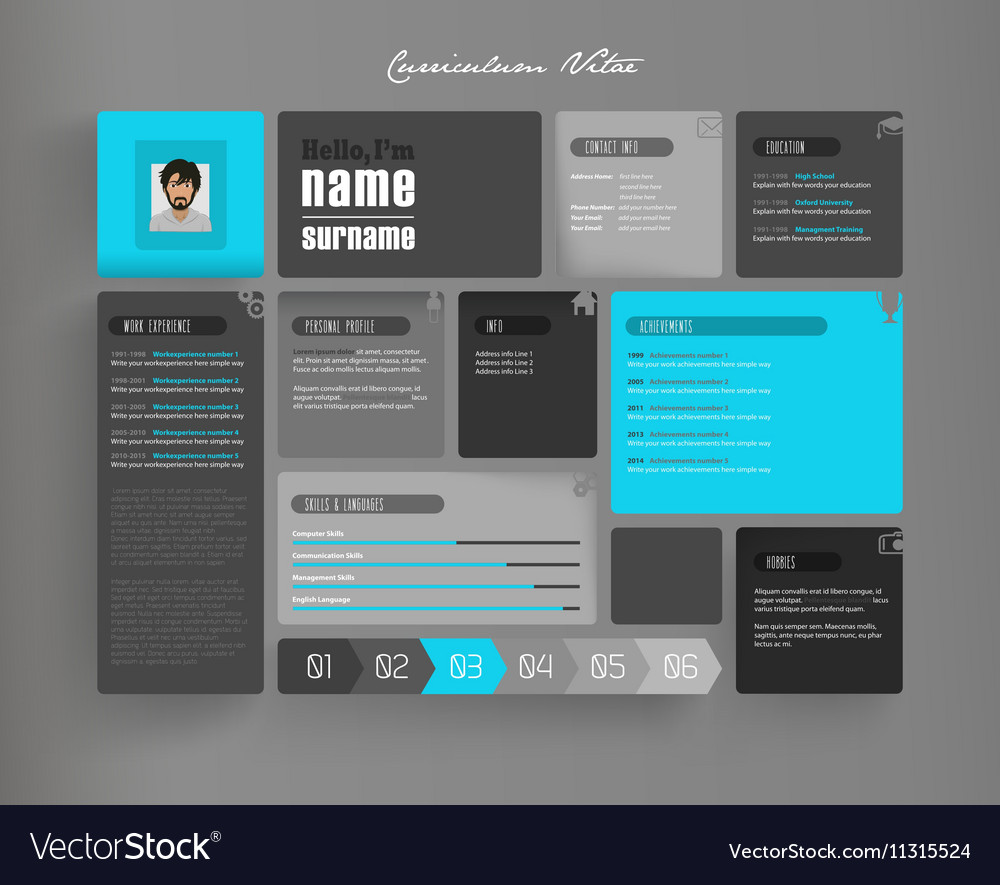 creative curriculum vitae template with tiles vector image