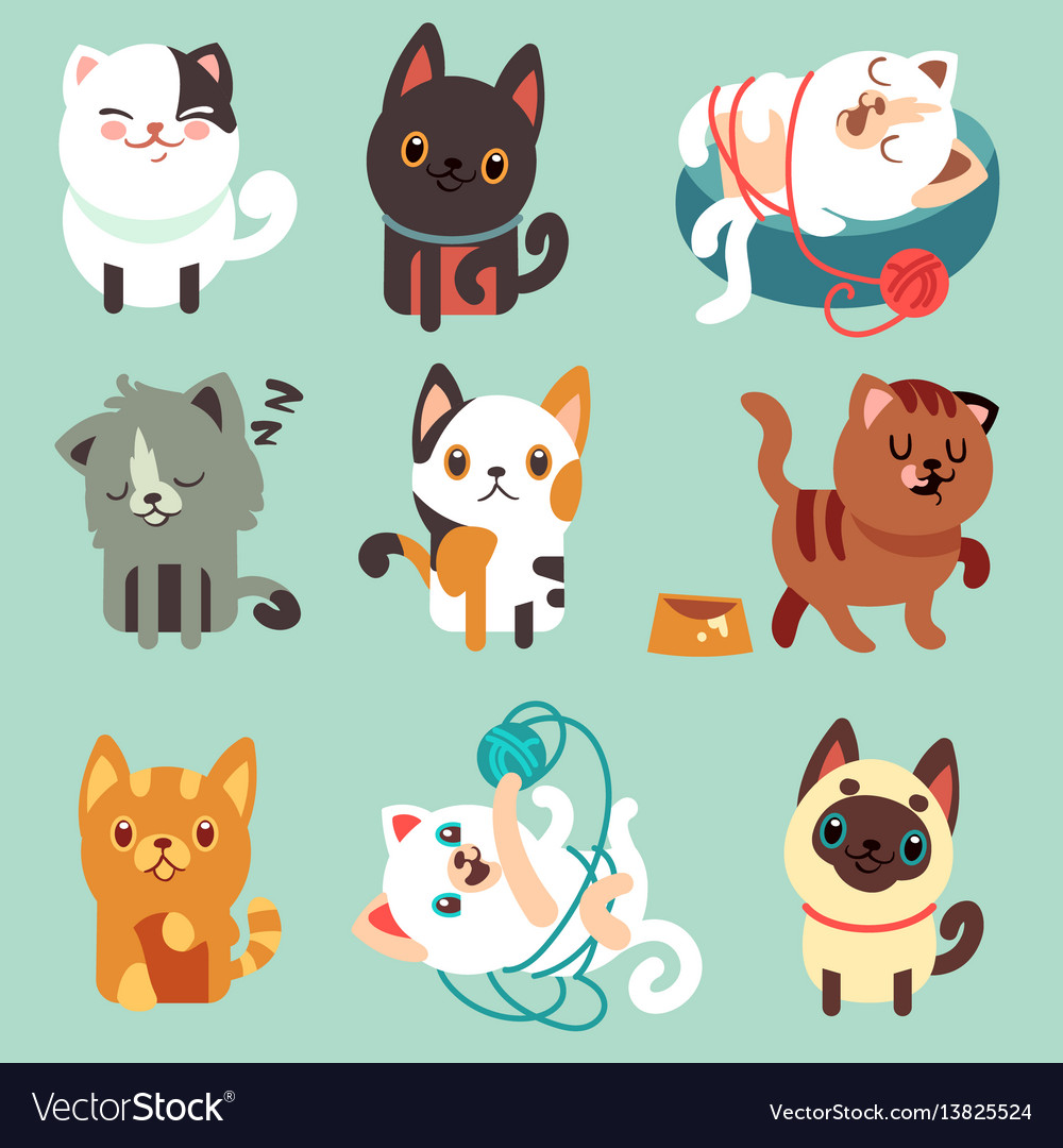 Image of: Clipart Cute Cute Cartoon Cats Funny Playful Kittens Vector Image Vectorstock Cute Cartoon Cats Funny Playful Kittens Royalty Free Vector