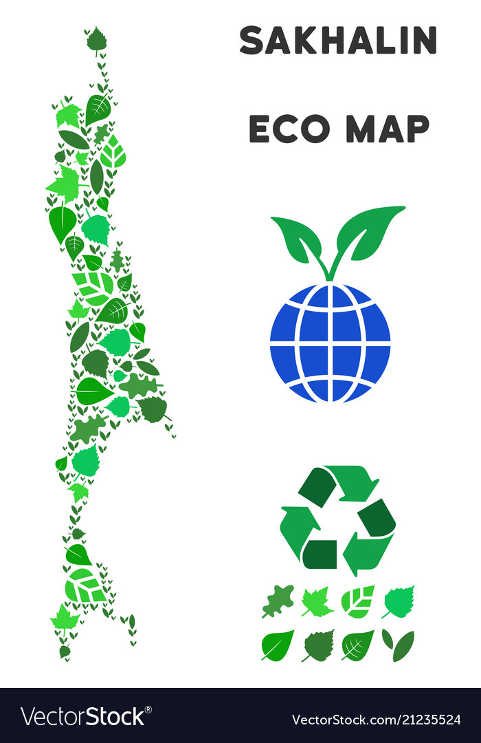 Ecology green collage sakhalin island map