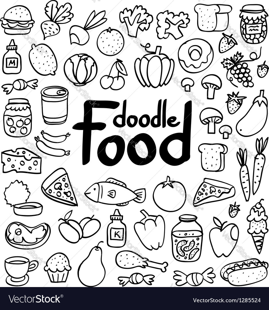 food doodle royalty free vector image vectorstock rh vectorstock com victor food victor food carts
