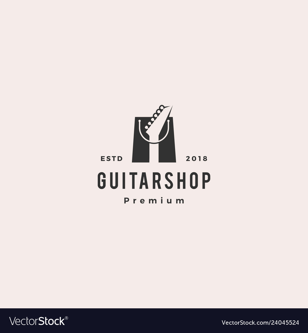Guitar shop music logo hipster retro vintage label