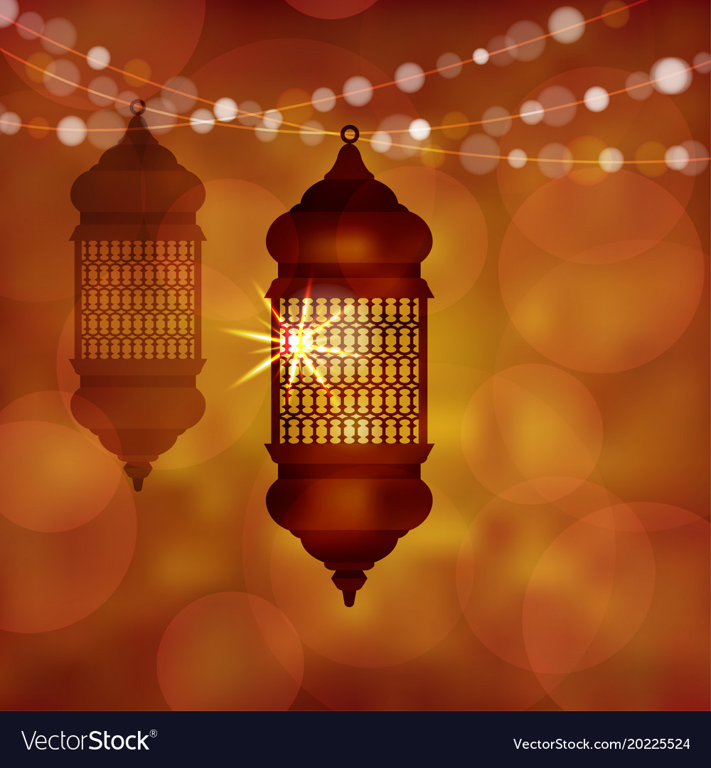 Illuminated arabic lamp lantern with string of vector image