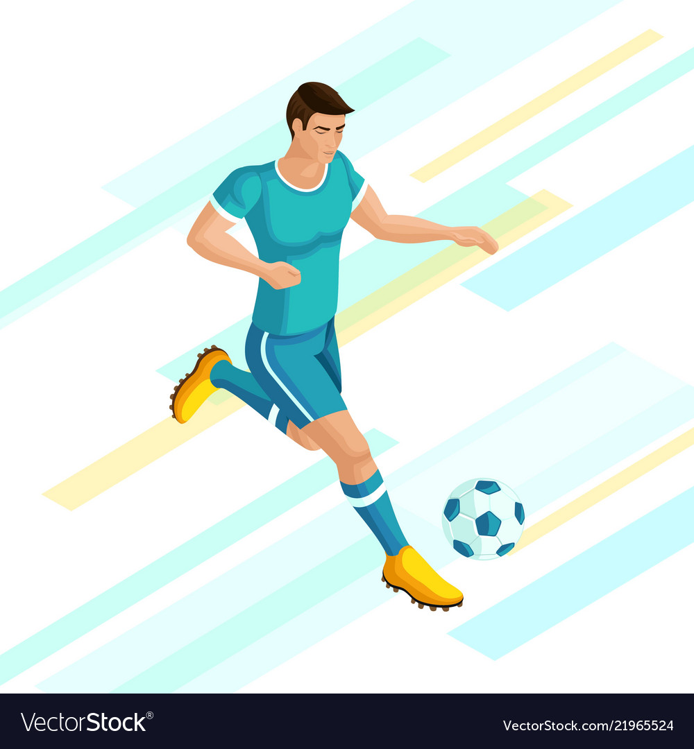 Isometrics soccer player on a beautiful background
