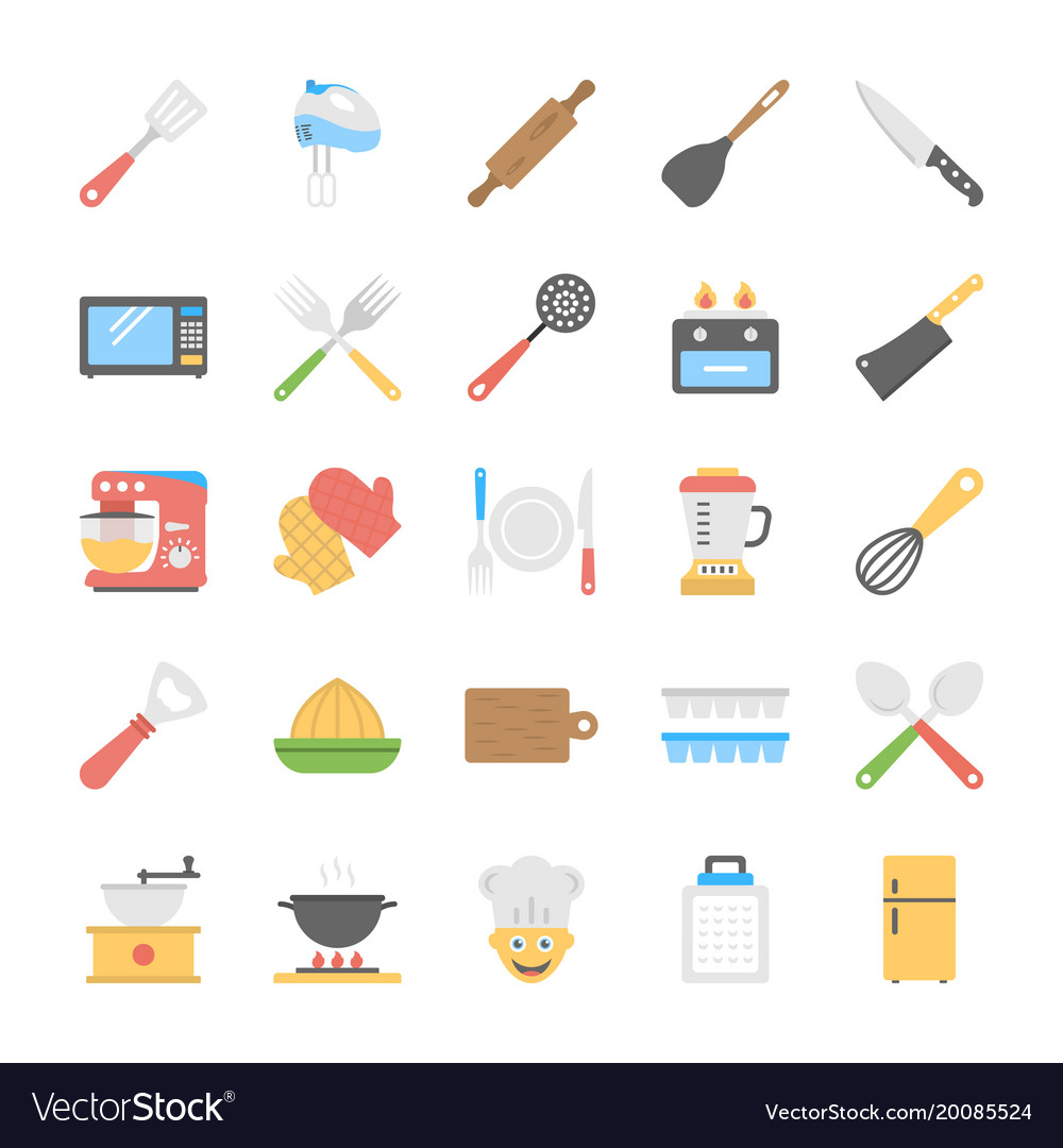 Kitchen utensils flat icons set vector image