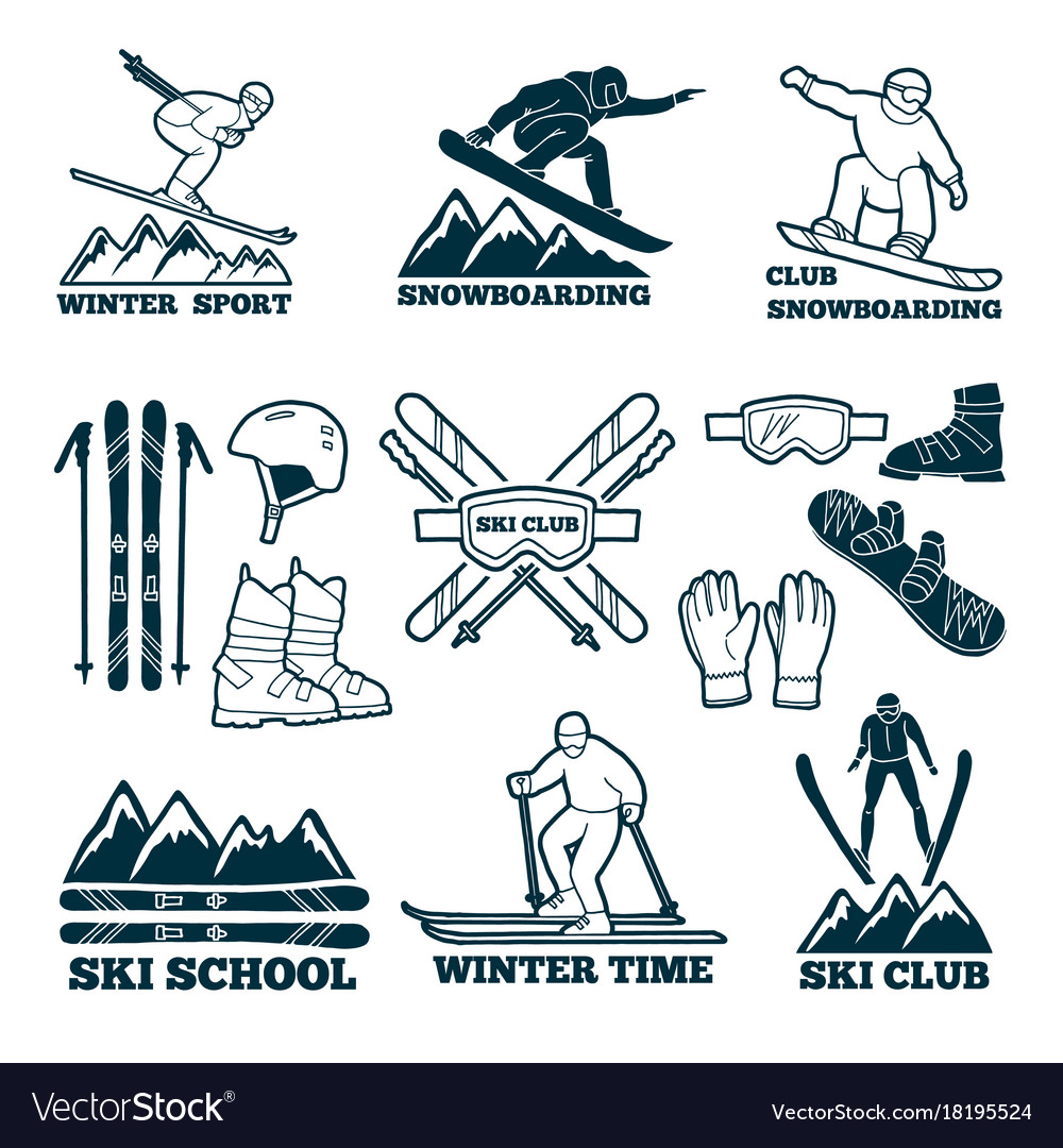 Labels set for club of skier silhouette of ski