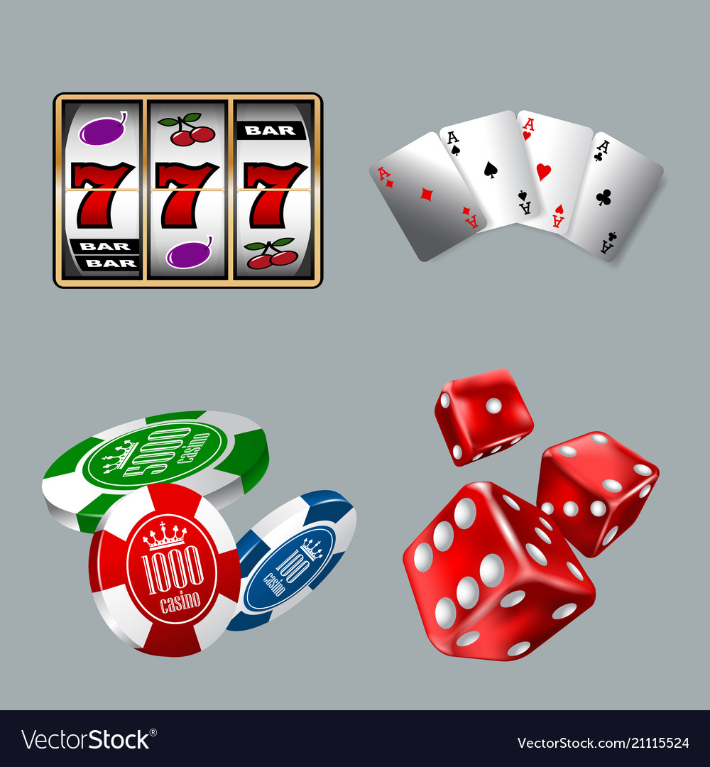 Set gambling icons for casino game with slot
