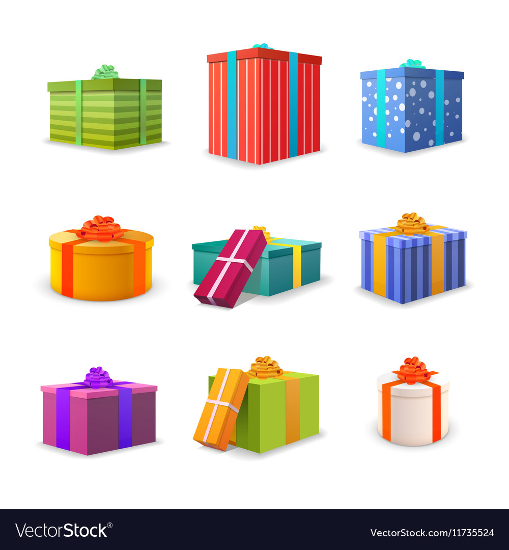 Set of different colourful bright gift boxes with