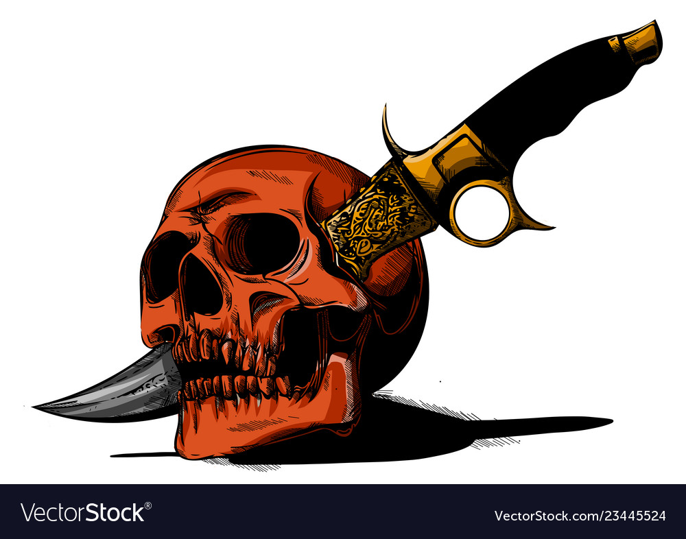 Skull with a knife and white