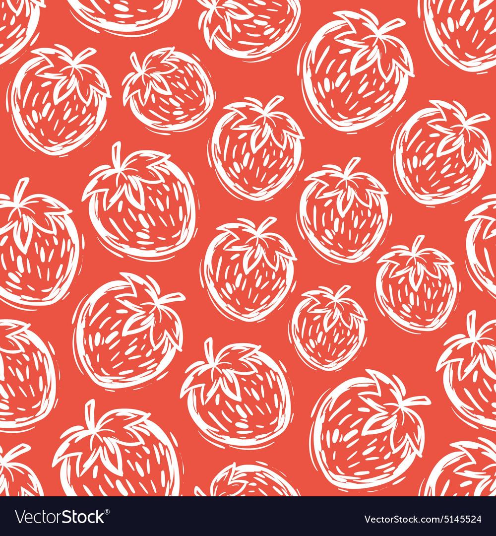 Strawberry seamless pattern hand-drawn