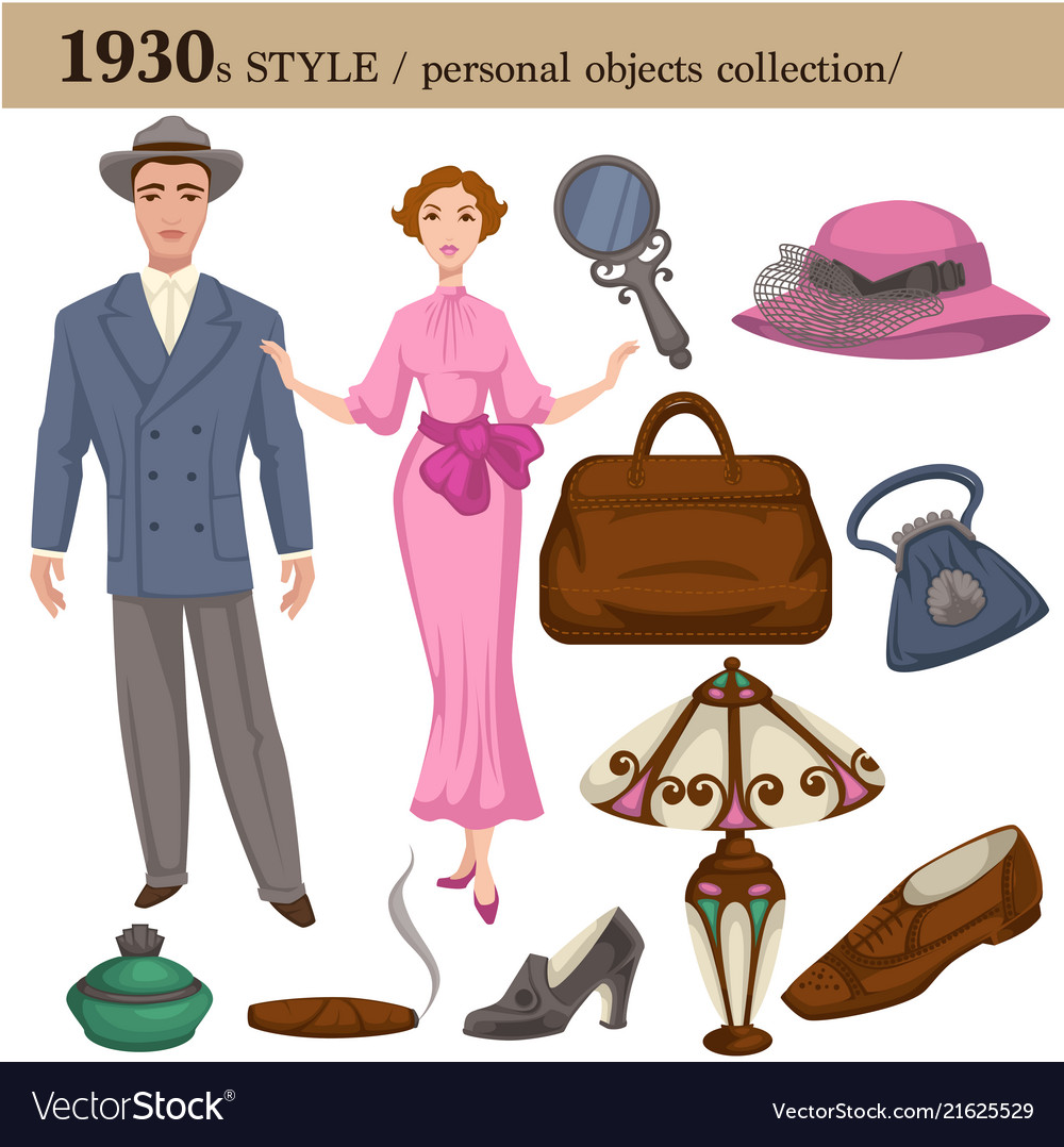 1930 fashion style man and woman personal objects