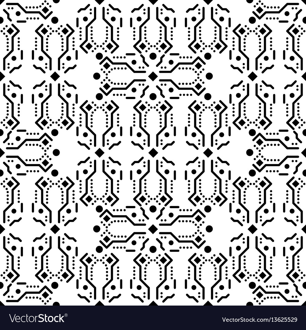 Black and white ornament seamless pattern
