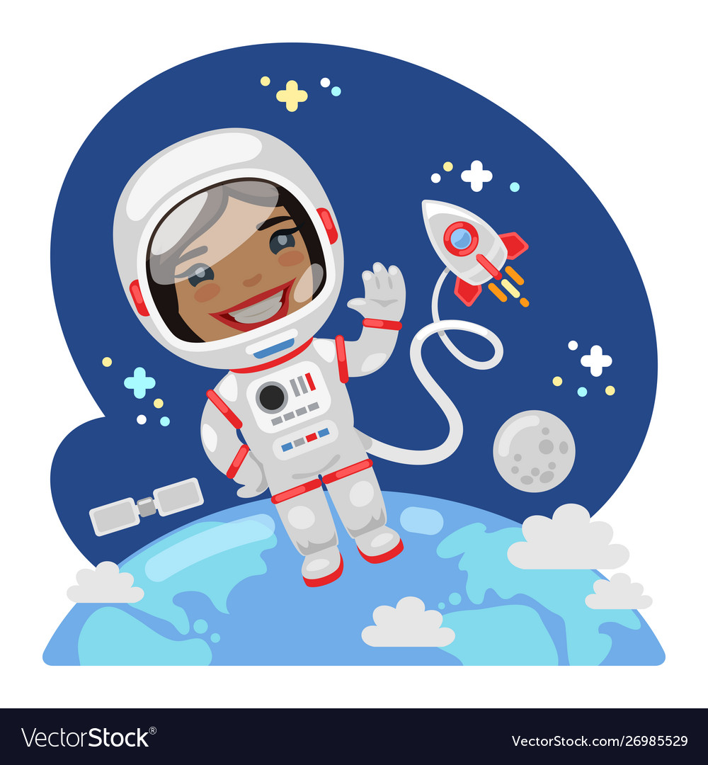 Cartoon astronaut in outer space