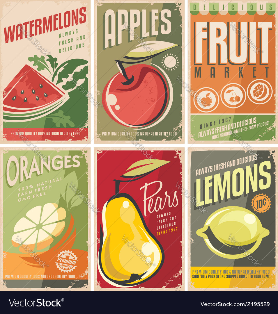 Collection of retro fruit poster designs