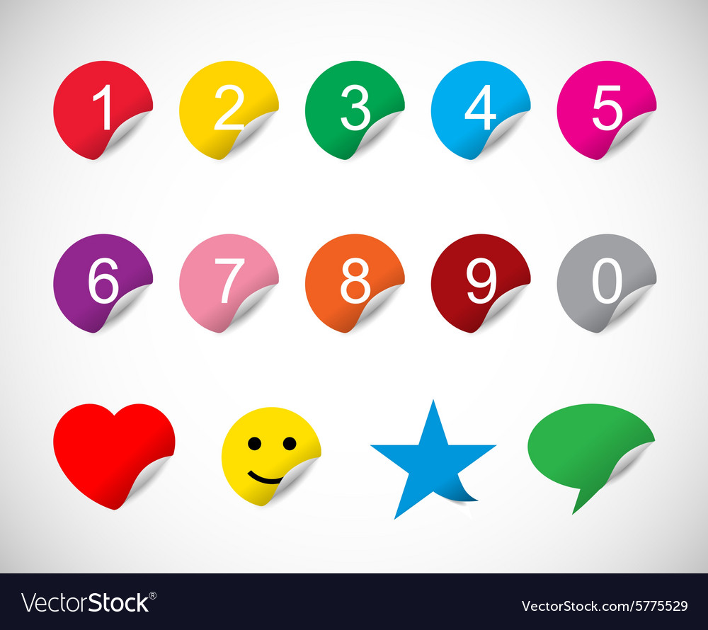 Colorful stickers with numbers