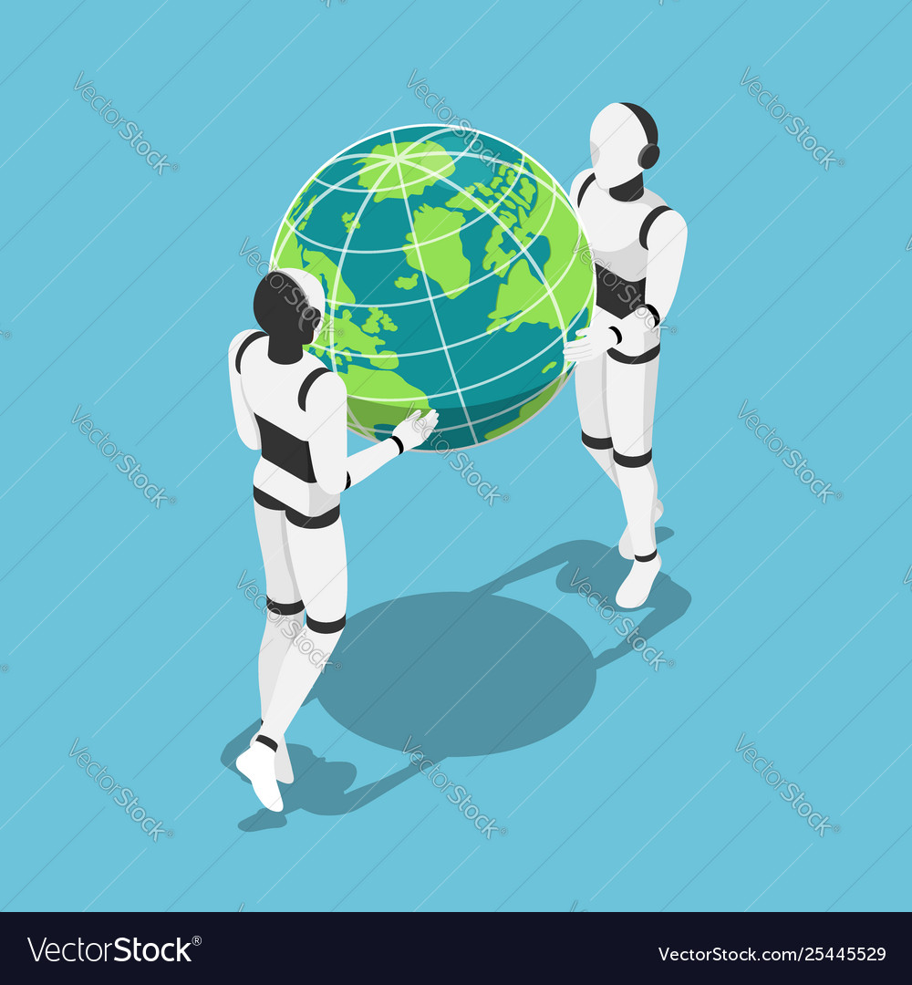 Isometric ai robot holding earth planet in hands