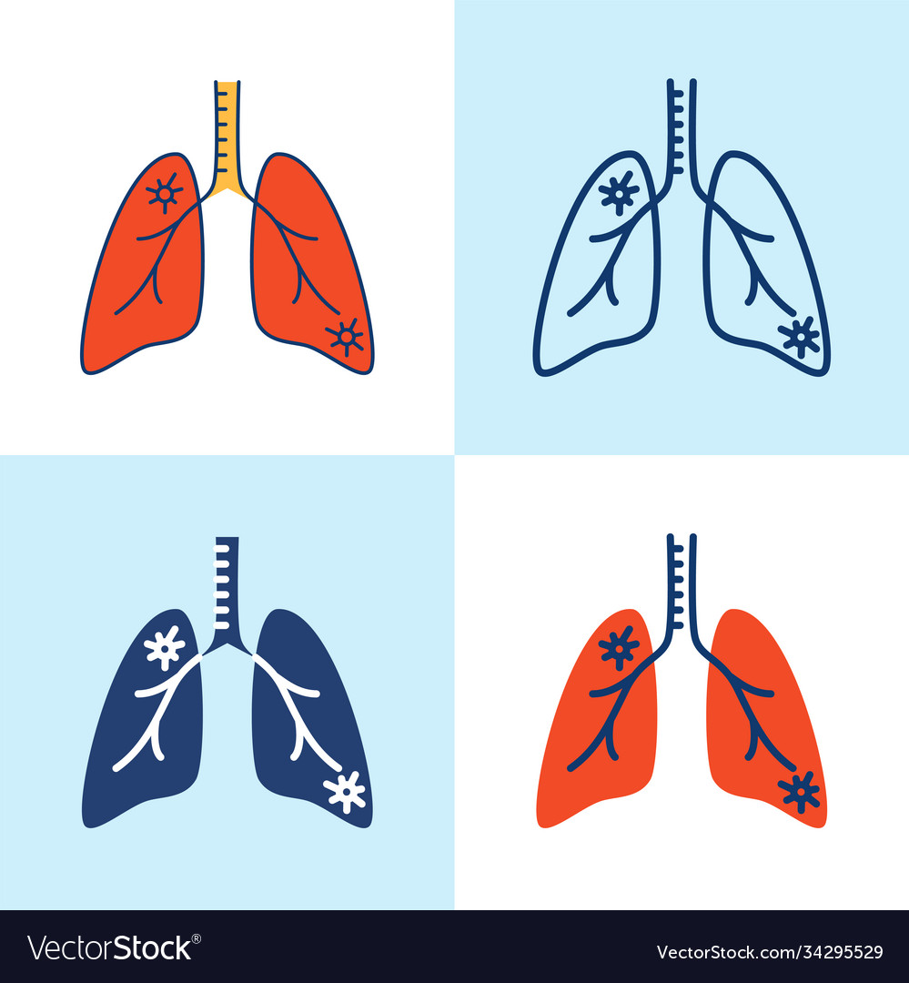 Lung pneumonia icon set in line style