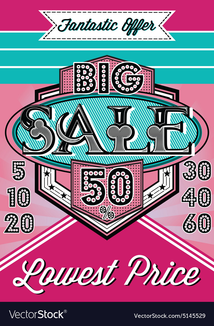 Poster with inscription for decoration sale vector image