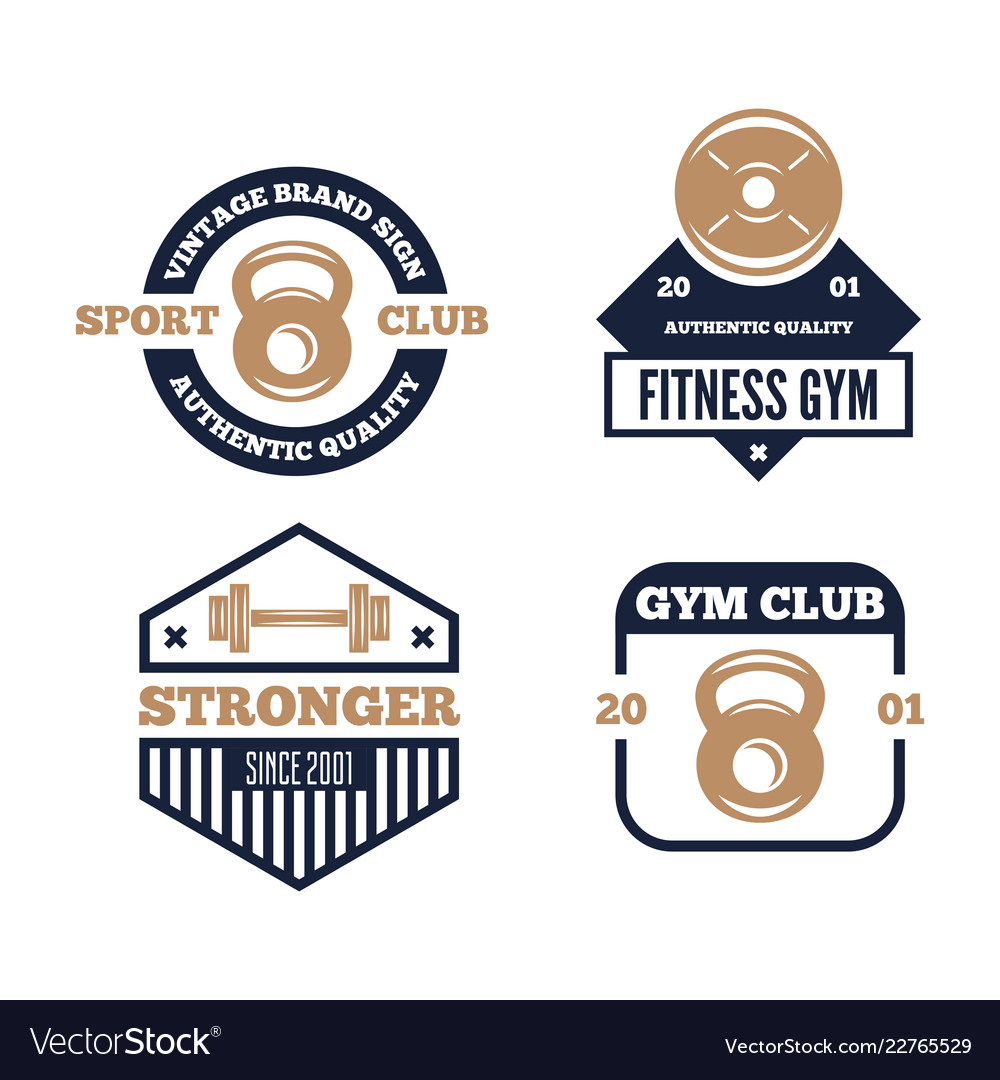 Set fitness emblems signs labels badges