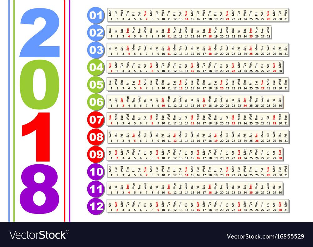 Simple calendar in unusual design months in