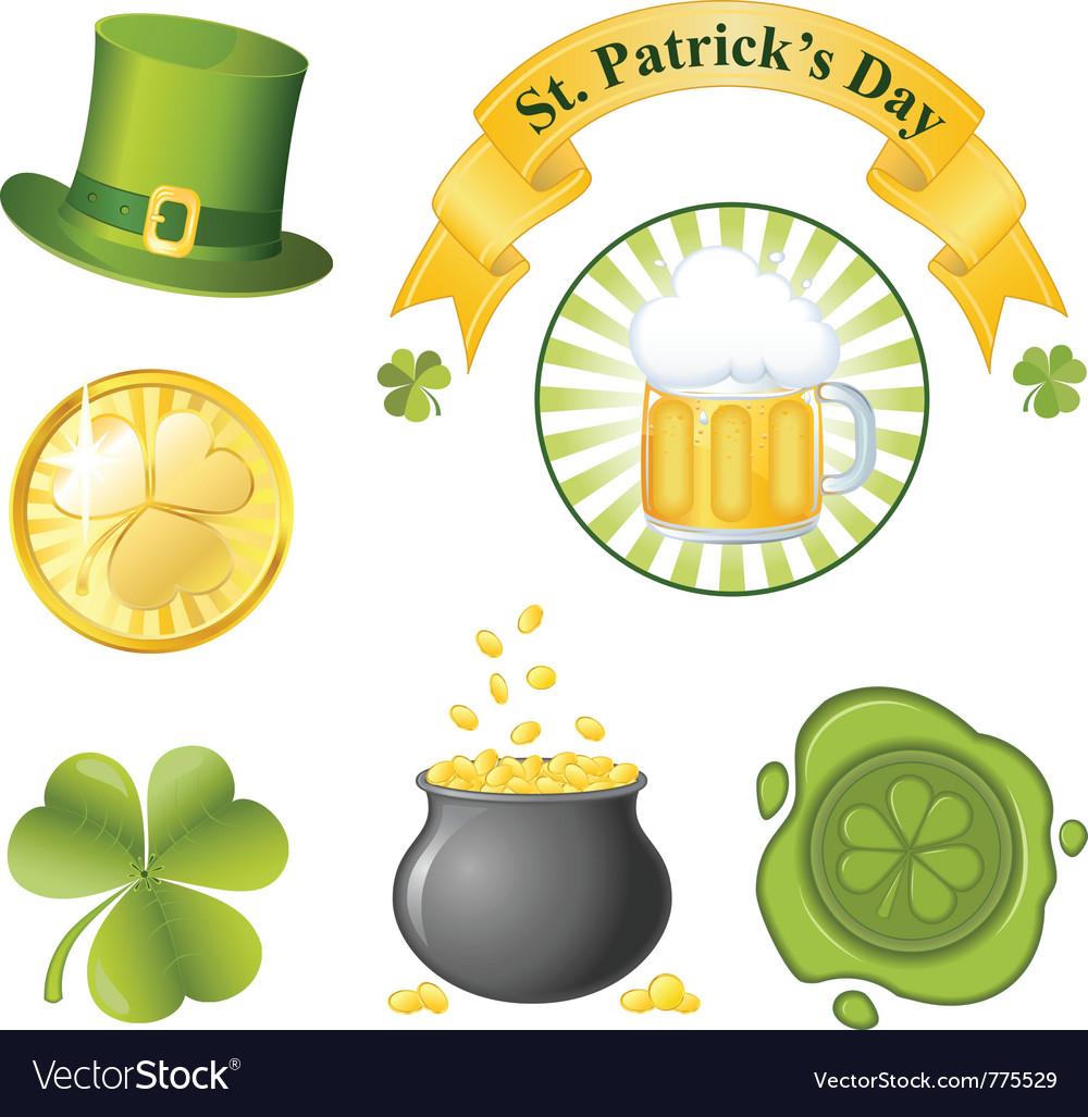 St patricks day icon set vector image