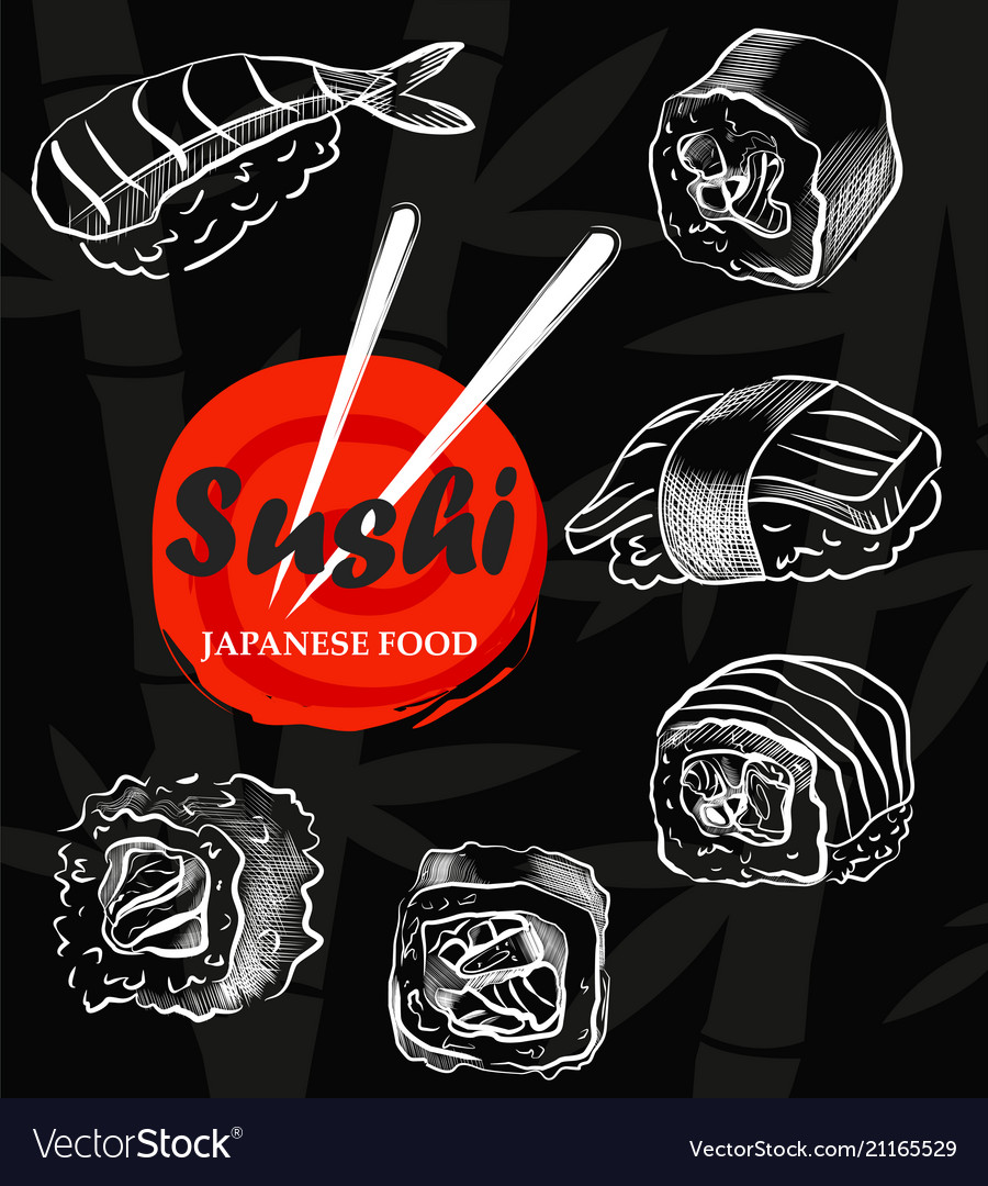 Sushi menu sketch cover clip art