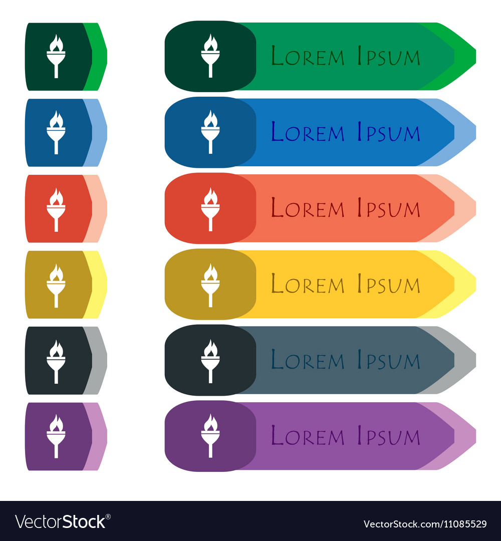 Torch icon sign Set of colorful bright long