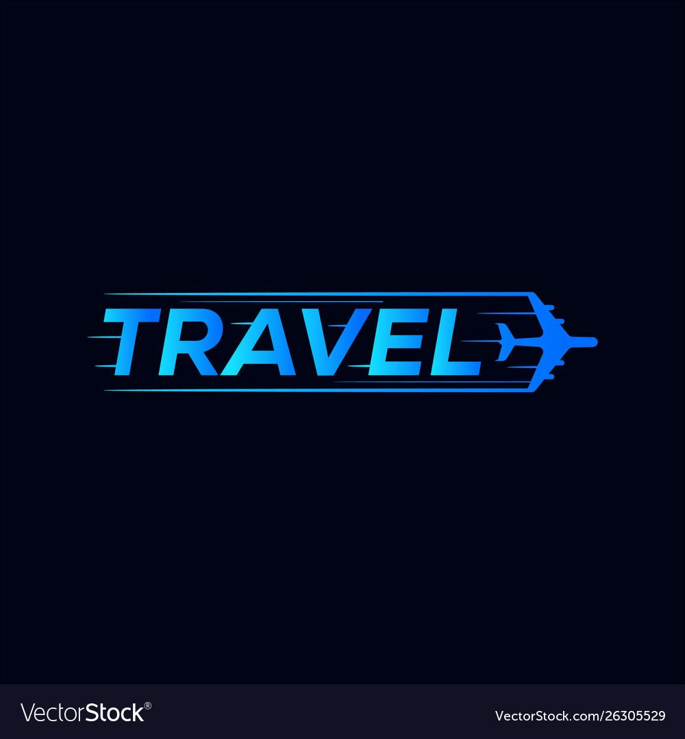 Travel symbol logo design with airplane icon
