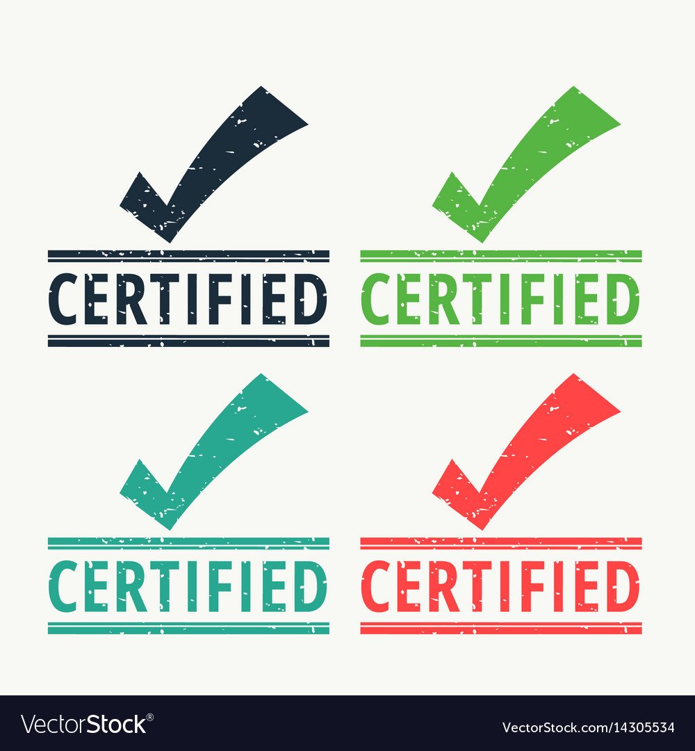 Certified rubber stamp with check mark