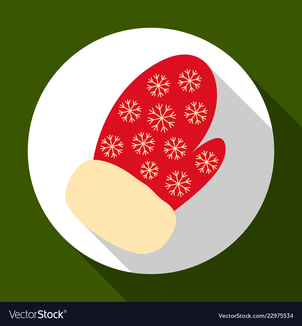 Christmas mitten icon on green background with