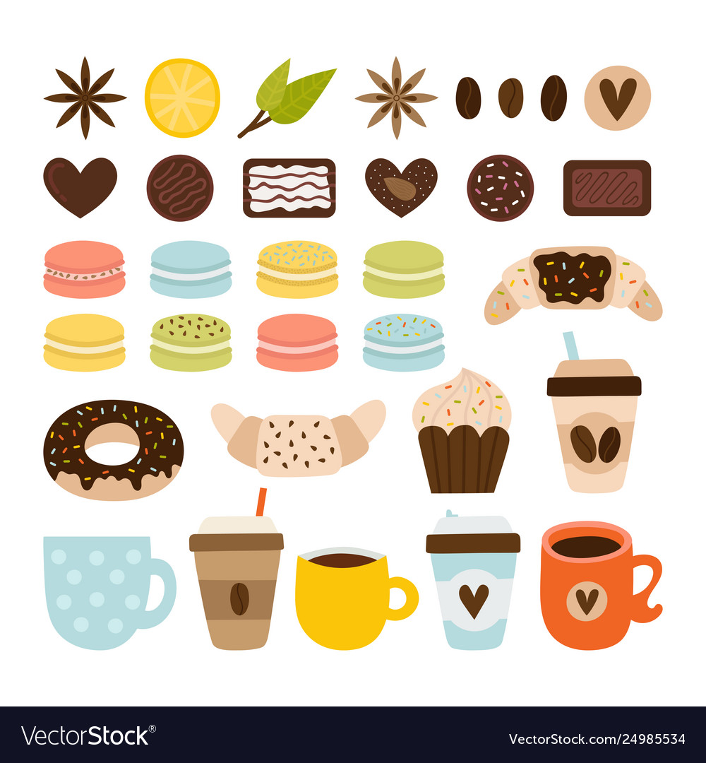 Coffee and tea collection coffee-shop icons set