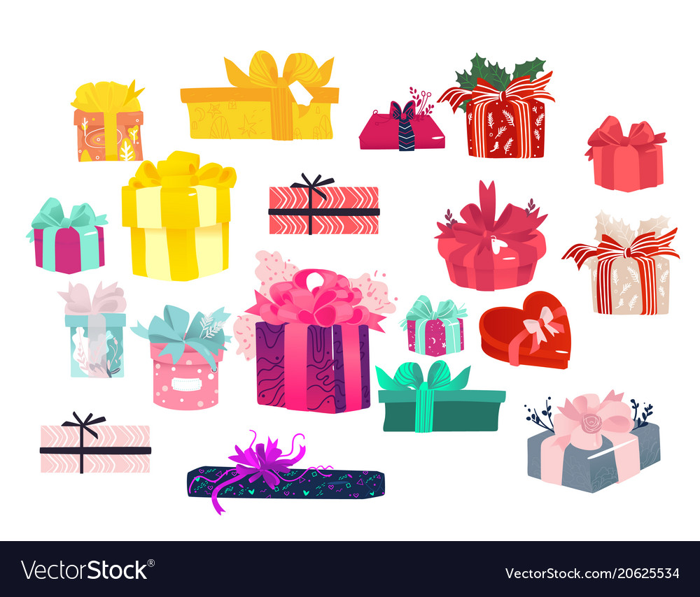 Colorful gift packages set lots of present boxes colorful gift packages set lots of present boxes vector image negle Images