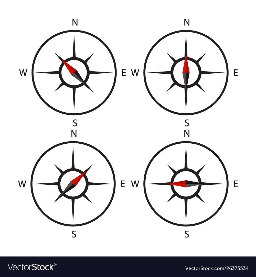 Compass icon set design black set