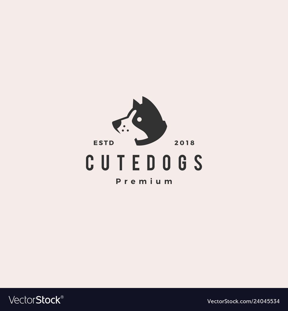 Cute dog pet puppy logo hipster retro vintage