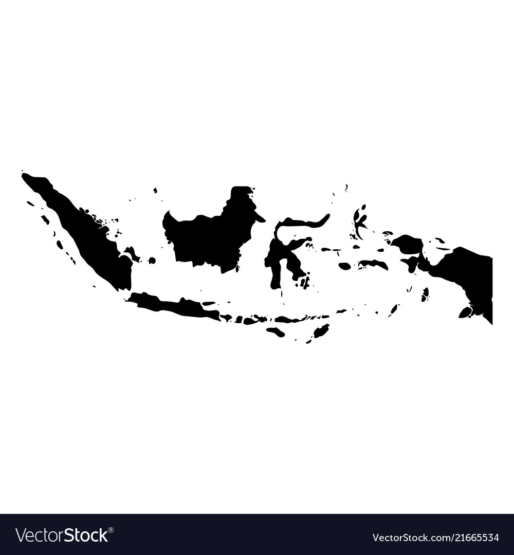 Indonesia - solid black silhouette map of country