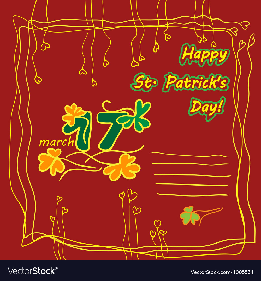 Irish st patrick day party card with flat symbols