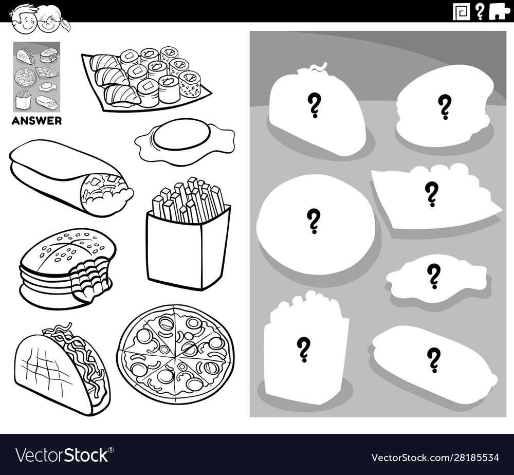 - Matching Shapes Game With Food Objects Color Book Vector Image