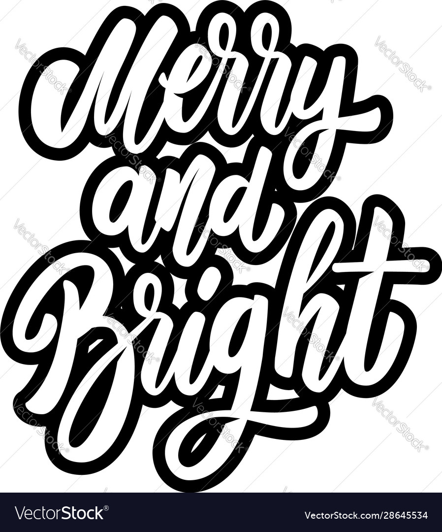 Merry and bright lettering phrase design element