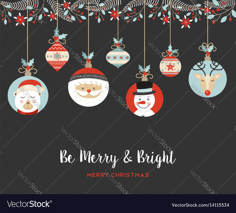Merry christmas cute retro bauble greeting card