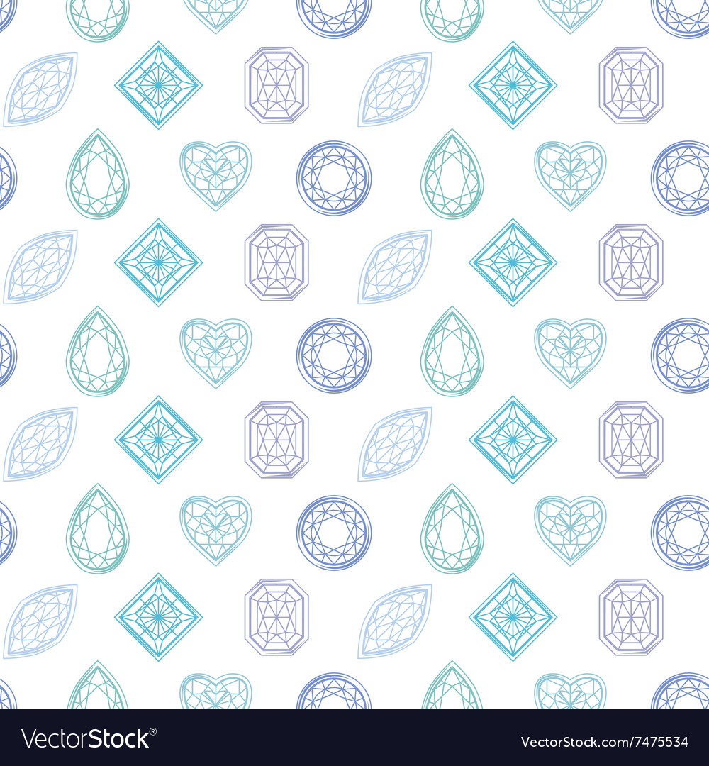 Seamless pattern with contour diamonds Blue and