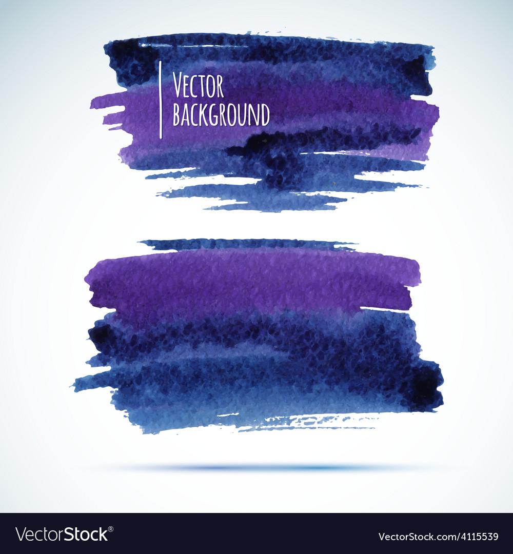 Brushstroke banners Ink blue watercolor spot vector image