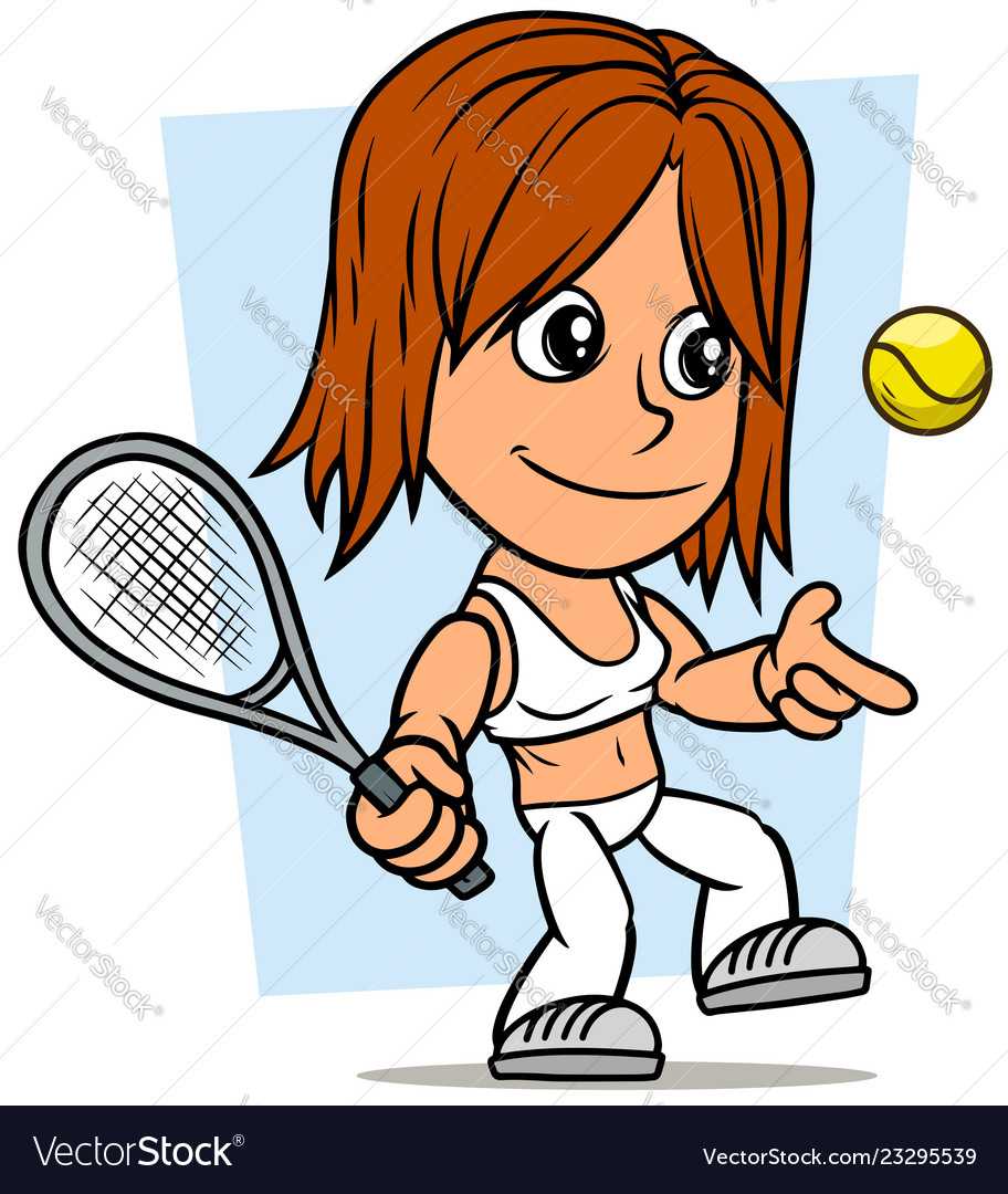 Cartoon girl character with tennis racket and ball