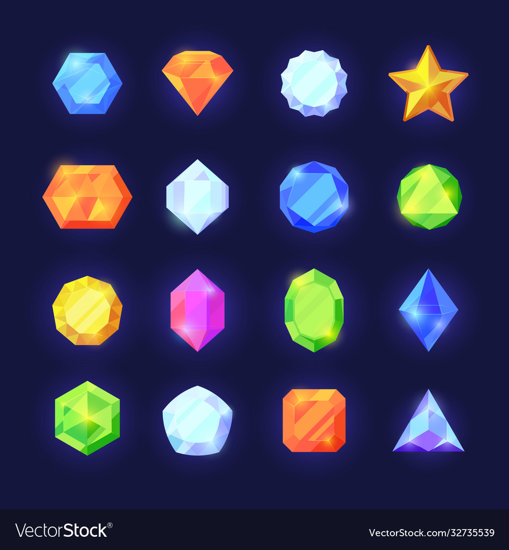 Crystals game color set mobile interface shiny