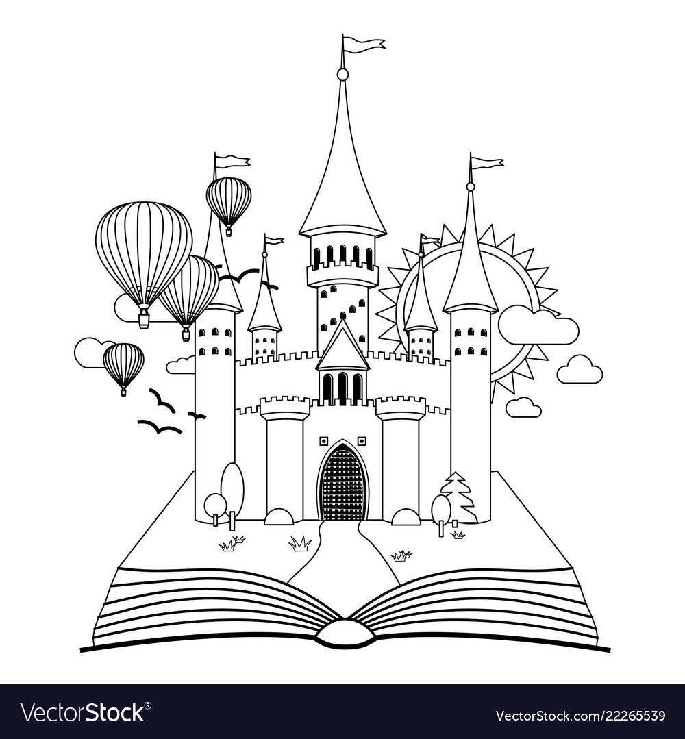Fairy-tale castle on book coloring image