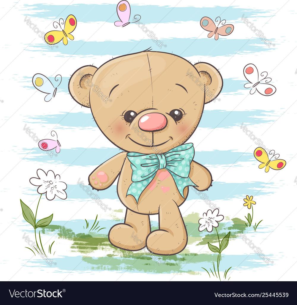 Postcard cute teddy bear flowers and butterflies