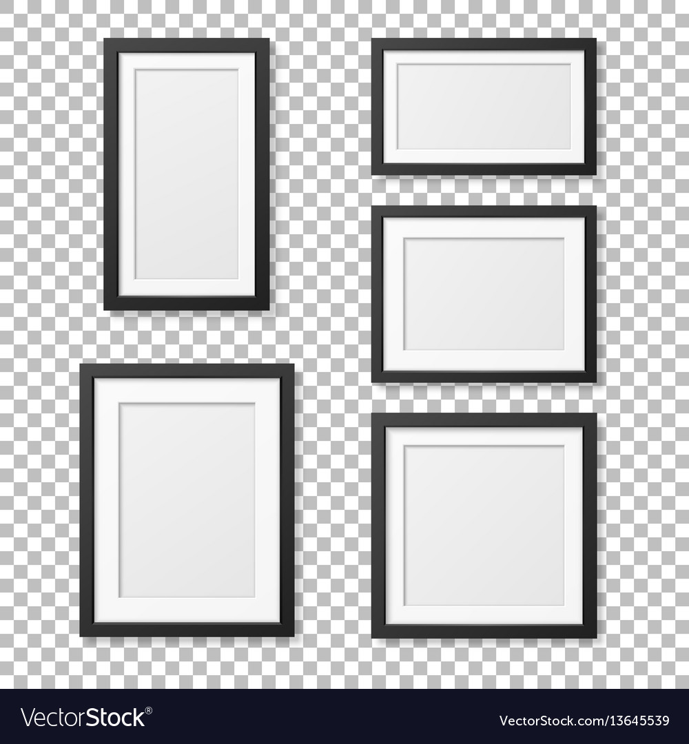 Realistic blank picture frame template set