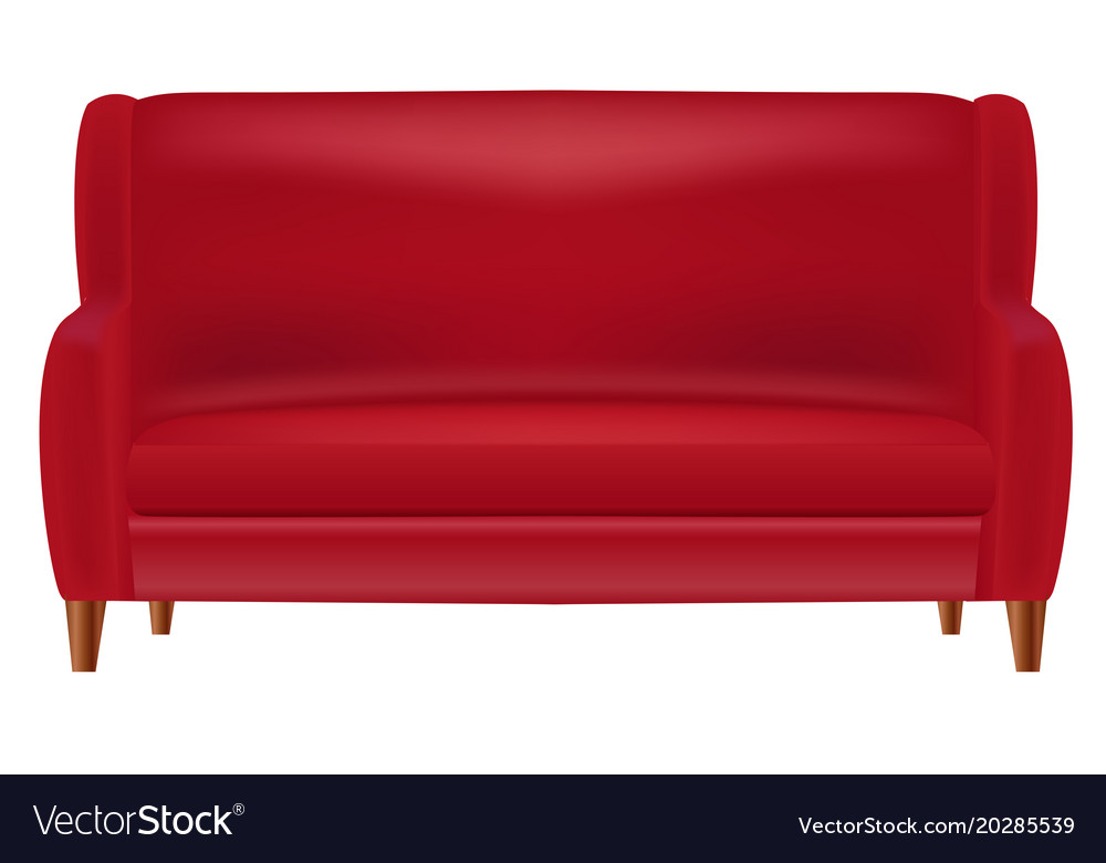 Realistic Red Sofa Front View Isolated On Whit Vector Image