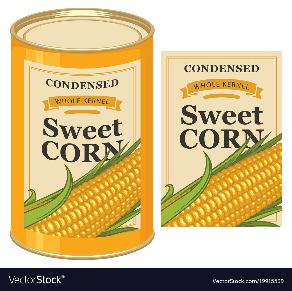 tin can label for canned sweet corn with the cob vector image