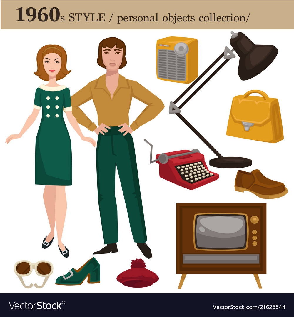1960 fashion style man and woman personal objects